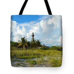 "Sanibel Lighthouse and Clouds Tote Bag 18"" x 18"""
