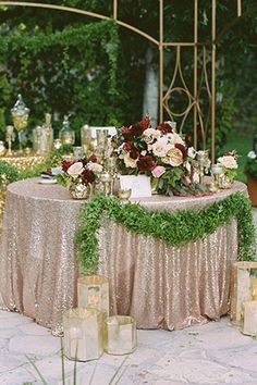 An incredible rose gold metallic wedding styled shoot featuring a stunning Truvelle gown | Erica Velasco Photographers: http://www.ericavelasco.com designed by : http://www.celebrationsbyamybacon.com