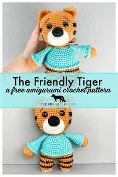 Free Crochet Tiger Amigurumi Pattern Free Crochet Tiger Pattern Details The Friendly Tiger is about 8 inches tall. The legs are made separately and then Crochet Dolls Free Patterns, Amigurumi Patterns, Knitting Patterns, Daniel Tiger, Giraffe Crochet, Crochet Animals, Cute Crochet, Crochet Toys, Crochet Things