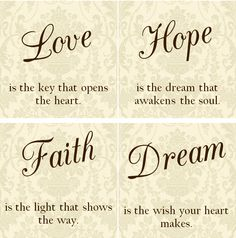LOVE Hope Faith Dream Tile Coasters  Set of by VintageLaceDesign