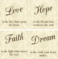 LOVE Hope Faith Dream Tile Coasters  Set of by VintageLaceDesign