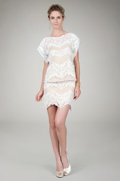 Blouson Lace Shift Dress in Ivory / Nude