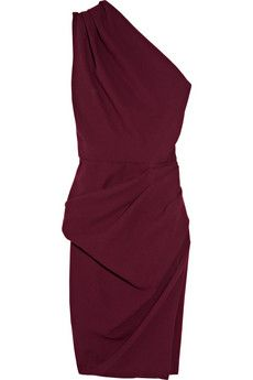 Love the color this burgundy dress. It's very kind of elegant looking classic without being showy.
