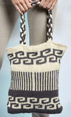 Free Knitting Pattern for Swirls and Stripes Mosaic Bag - Easy slip stitch colorwork uses just one color per row for this striking geometric design. About 12″ [30.5 cm] wide and 15″ [38 cm] tall. Designed by Tamara Goff for Red Heart