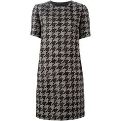 Lanvin houndstooth print dress (€2.645) ❤ liked on Polyvore featuring dresses, black, hounds tooth dress, short sleeve black dress, lanvin dresses, pattern dress and short black dresses
