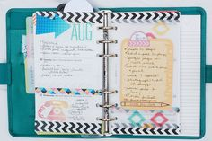 Planner decorated by Anabelle featuring my Life Pages cards and Printables from September's Gossamer Blue kit
