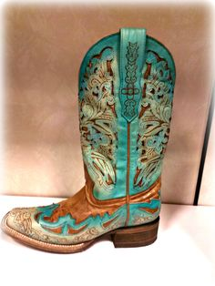 Corral Tan Turquoise Square Toe Boots A1054 $225