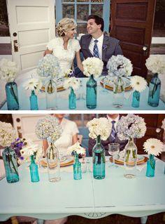 vintage wedding decor   Vintage Glass Bottles ~ Ideas for Vintage Rustic Wedding Decorations ...