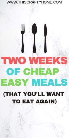 Cheap, quick and easy recipes for two weeks of meals! Great dinner ideas for families that take less than 30 minutes. Cheap Meals For Two, Cheap Easy Meals, Cheap Dinners, Frugal Meals, Budget Meals, Meals For The Week, Quick Easy Meals, Budget Recipes, Great Dinner Ideas