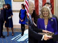 Michelle Obama, Malia Obama and Jill Biden all wore cobalt blue for the first inaguration