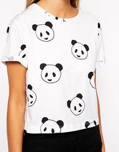 Image 3 ofASOS Cropped Boyfriend T-Shirt With Panda Print