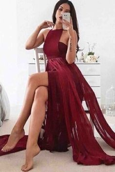 Burgundy chiffon prom dress, ball gown, unique long dress for prom 2017