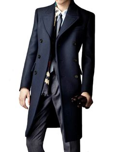 Featuring double breasted closure and knee length, this Dark Blue Long Coat will make you ready for the colder weather. Tailored to your specific measurements our coats are always hand made with the t