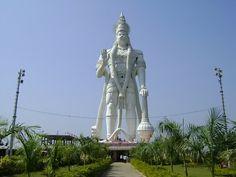 Statue: Veera Abhaya Anjaneya;  Hanuman Swami;    Depicts: Lord Hanuman;   Height: 41 m (135 ft);    Location: Vijayawada, Andhra Pradesh, India.