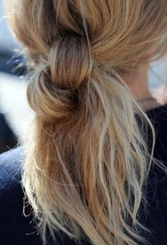 Knotted bun pony tail for fine hair