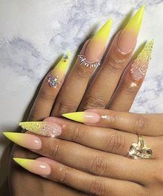 Ombre Nail Designs, Acrylic Nail Designs, Nail Art Designs, Yellow Nails Design, Yellow Nail Art, Neon Yellow, Acrylic Nails Stiletto, Best Acrylic Nails, Coffin Nail