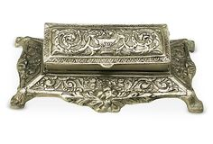 One Kings Lane - In the Library - Antique Silver Finish Stamp Box