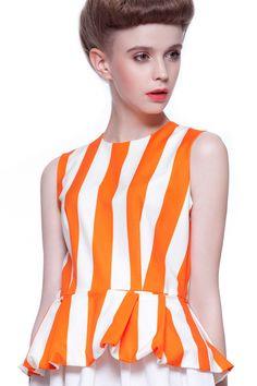 Orange and White Striped Sleeveless Peplum Top