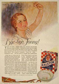 "1930 Original magazine ad for Ralston Whole Wheat Cereal. Art is signed Epp. With an image of the vintage Ralston bowl (""Find the bottom ....um-m All Gone"") December God Housekeeping"