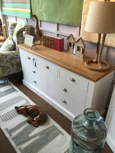 Oak topped white furniture range with shiny chrome cup handles White Furniture, Chrome, Range, White Cabinets, Stove, Range Cooker