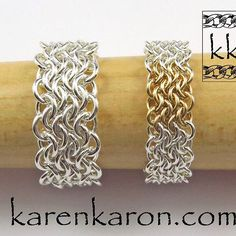 Chainmaille Bracelet by Karen Karon. Oops Weave Rings in 20g & 22g sterling silver and gold-fill. #chainmaille #chainmail #jewelry #jewellery #karenkaron