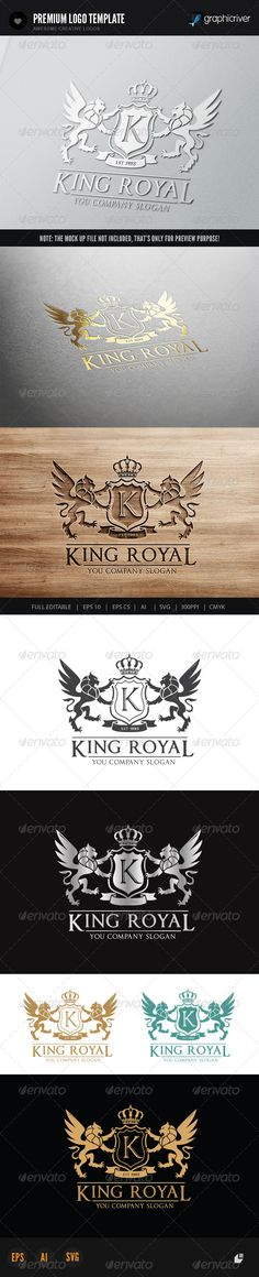 King Royal Logo II #GraphicRiver This logo design for all creative business. Consulting, Excellent logo,simple and unique concept. Logo Template Features AI and EPS (Illustrator 10 EPS) 300PPI CMYK 100% Scalable Vector Files Easy to edit color / text Ready to print Font information at the help file If you buy and like this logo, please remember to rate it. Thanks!