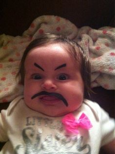 WOAH HAHAHA #SmileStarters Baby 'staches are the new cat beards. #parenting #pranks (Photo by: Imgur)