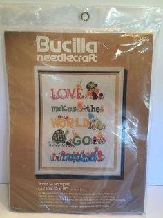 "Bucilla Needlecraft Love Sampler Turtle Frog 3476 11"" x 14"" Embroidery Kit | eBay"