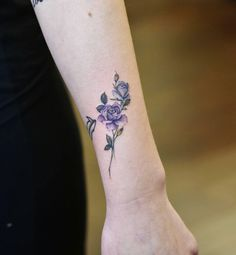 Blue and violet watercolor roses by Drag Ink