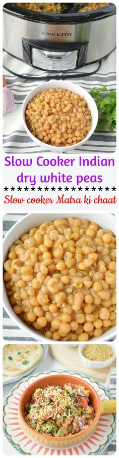 Slow cooker Matra ki chaat - Slow cooker version of Delhi's famous delicious spicy chaat - matar kulcha prepared with white peas and topped with spicy chutney's and onions.