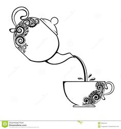 A Cup Of Tea And Vintage Kitchen Utensils Stock Vector - Image . Teapot Tattoo, Cup Tattoo, Cup Of Tea Tattoo, Mandala Design, Mandala Art, Tea Cup Drawing, Buch Design, Coffee Art, Colouring Pages