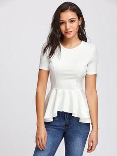 Sheinside Princess Seam Asymmetric Peplum Blouse White Round Neck Short Sleeve Blouse With Ruffle Zipper 2017 Ladies Elegant Top