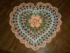 Heart Doily with a rose by LaceCrochet,