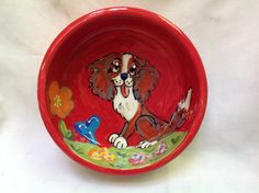 Hand Painted Ceramic Dog Bowl KING CHARLES CAVALIER by Debby Carman Faux Paw Productions by FauxPawProductions on Etsy