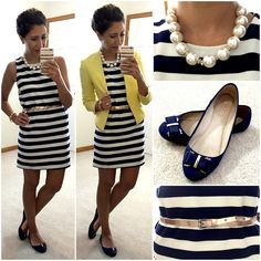 Yellow Blazer and More Stripes. Source by work Preppy Style, My Style, Work Attire, Office Attire, Office Outfits, Work Outfits, Yellow Blazer, Professional Attire, Cardigans For Women