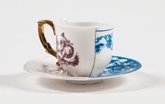Seletti Hybrid Eufemia Espresso coffee cup with saucer in porcelain Coffee Cup Set, Tea Cup Set, Cup And Saucer Set, Tea Sets, Muuto, Vintage Plates, Vintage Crockery, Kintsugi, Espresso Cups