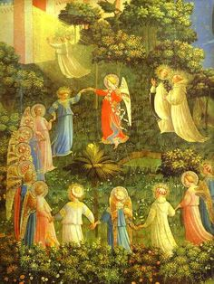 Fra Angelico Painting :The Last Judgement.  This picture by Fra Angelico depicts several holy people including  angels, standing and singing around a central figure. Two persons are  seen facing a wall kneeling down, in the background. The plants and  shrubs have been very vividly painted. This religious painting by  Angelico done as Tempera on wood in 1431 as 105x210cm and is to be  seen at Museo di San Marco in Florence, Italy.