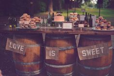 rustic desert table ideas http://www.weddingchicks.com/2013/09/27/pink-and-cream-wedding/