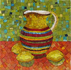 Pitcher with lemons mosaic by Ginny Sher