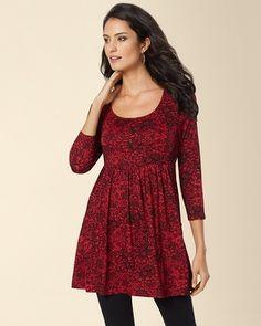 Soma Intimates Soft Jersey Empire Waist 3/4 Sleeve Tunic Opulent Lace Ruby #somaintimates #comfy