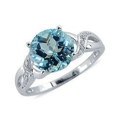 Cocktail Round Cut Sky Blue Topaz and Diamond Ring In White Gold Blue Topaz Diamond, Diamond Gemstone, Diamond Rings, Gemstone Rings, White Gold, Wedding Rings, Engagement Rings, Sky, Treasure Chest
