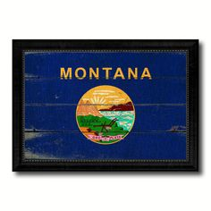 Montana State Vintage Flag Canvas Print with Black Picture Frame Home Decor Man Cave Wall Art Collectible Decoration Artwork Gifts