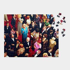 "Alex Prager Crowd: Alex Prager Crowd #10. This puzzle features Prager's piece Crowd #10 (Imperial Theatre), 2013, in which characters are staged in an elaborate shuffle. Prager's work is in MoMA's collection and was featured in the exhibition New Photography 2010. Limited edition of 500. Not intended for children. 504 piece jigsaw puzzle. Assembled: 16l x 20""w. MoMA Shop"