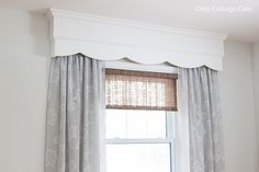 Wooden Valance set wider than windows so curtains don't block light when open. Floor To Ceiling Curtains, Dining Room Curtains, Curtains With Blinds, Kitchen Curtains, Wooden Valance, Little Girl Rooms, Soft Furnishings, Home Projects, Window Treatments