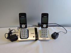 VTech CS6719-2 Phone Caller ID Call Waiting Silver Black 2 Cordless DECT 6.0…