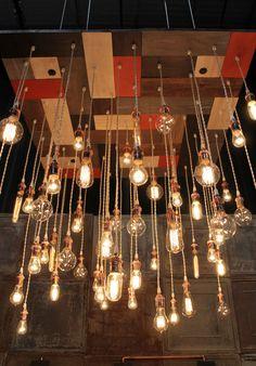 Mosaic Urban Chandy featured at Bklyn Designs 2013 by urbanchandy Edison Bulb Chandelier, Industrial Chandelier, Wood Chandelier, Industrial Lighting, Vintage Lighting, Pendant Lights, Mid Century Modern Chandelier, Vintage Light Bulbs, Light Fittings