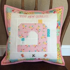 """I am super excited to share my latest pattern """"You Sew Girl"""" with you all! It's a fun little pillow for your sewing space. The pillow cover fits a 12"""" pillow form, and the center sewing machine block is 6"""" finished for those of you who wanted to make it..."""