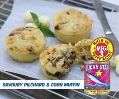 Savory Lucky Star Pilchard and Corn Muffin recipe. Makes 12 muffins, Method: Preheat the oven to and grease a 12 muffin cup tin, Read Savory Muffins, Corn Muffins, Star Food, Lucky Star, Muffin Cups, Chef Recipes, No Cook Meals, Baked Goods, Favorite Recipes