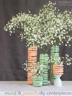 Fun with Twisty paper.  simple babys breath diy centerpieces