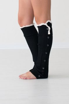 Black Button Down Leg Warmers